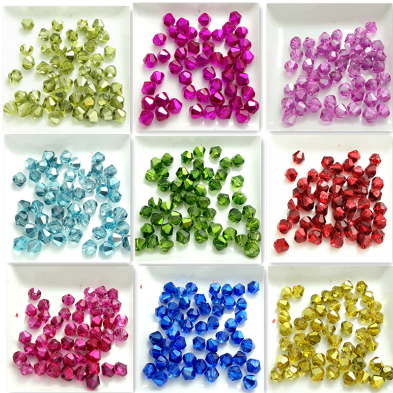 Wholesale New Colors 100pcs Faceted bicone crystal glass loose Spacer beads 6mm(China (Mainland))