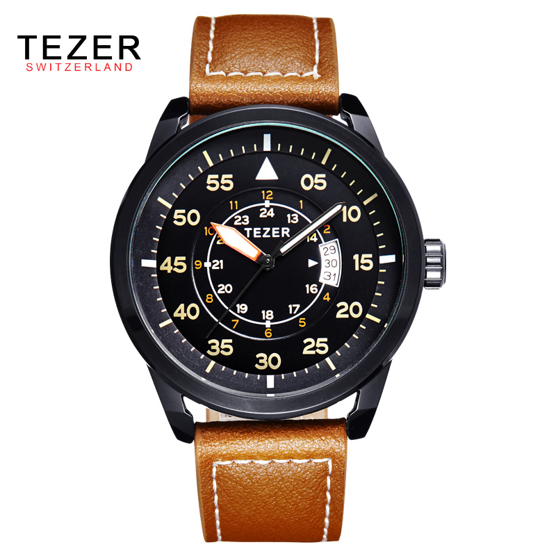 TEZER MYOTA Quartz Movement Waterproof Outdoor Sports Male Table High Hardness Steel Crystal Mirror Leater Outdoor Watch AB1724(China (Mainland))