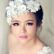 In Stock Wedding Lace Flowers Handcraft Bridal Hats Accessories Pearl Hair Jewelry Bride Hairwear Accessory For Bridal SH02(China (Mainland))