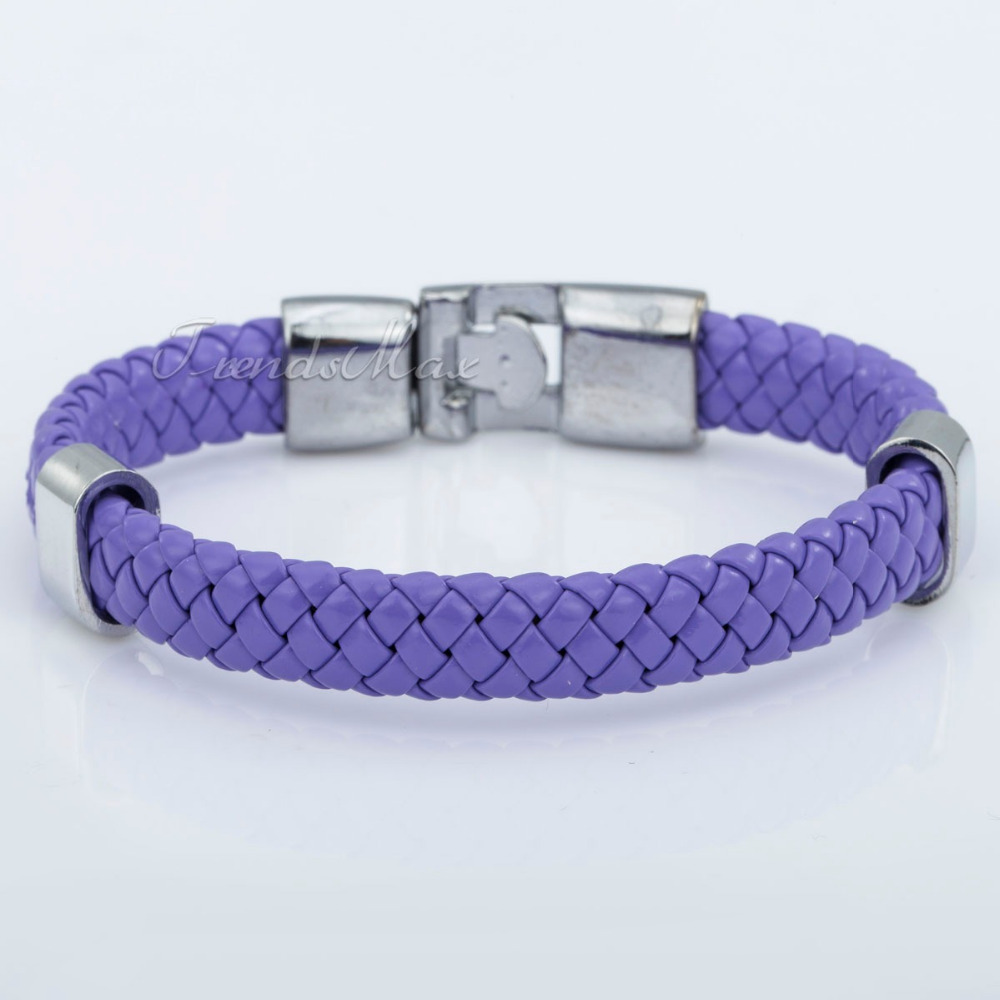 9mm Braided Rope Surfer Leather Bracelet Wristband Stainless Steel Clasp Multi Colors Mens Womens Jewelry LLBM24