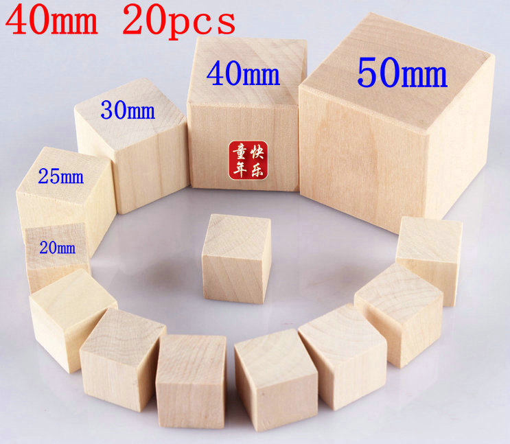 20pcs 40MM Table DICE DIY blank wooden cube dice special game party machine Children dices KTV IVU<br><br>Aliexpress