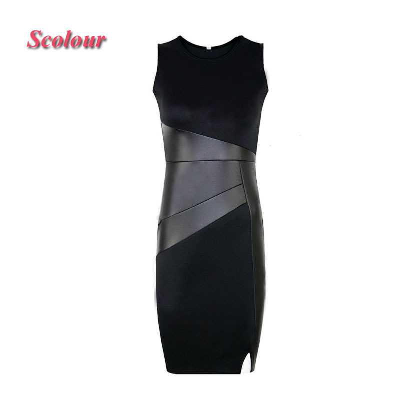 Scolour1PC Womens Lady Summer Sexy Leather Splice Bodycon Evening Party Dress(China (Mainland))