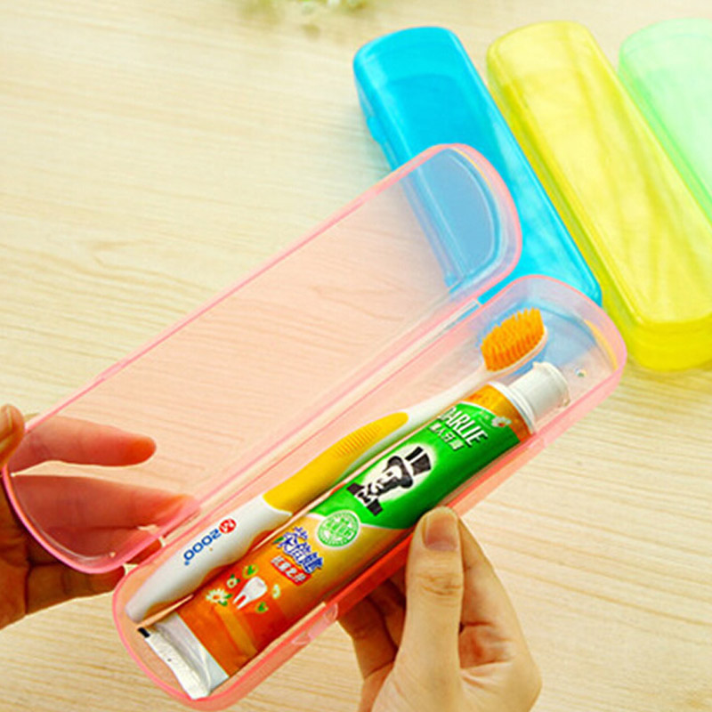 2015 fashion Simple jelly color plastic toothbrush box portable outdoor Travel necessary dental equipment boxes(China (Mainland))