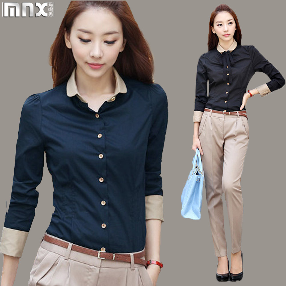 Camisa feminina 2015 fozen tunic blouse top europe office for Jeans shirt for ladies online