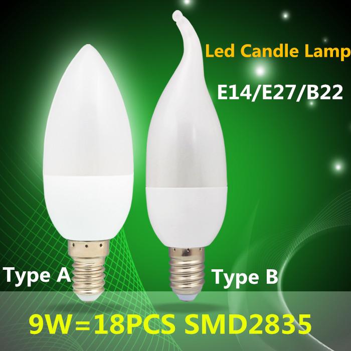 10PCS/Lot hot sale LED Candle Light Tip/Tail Shape 9W E14 E27 B22 2835SMD Hanging Lamp AC110V 220V Cold /Warm White(China (Mainland))