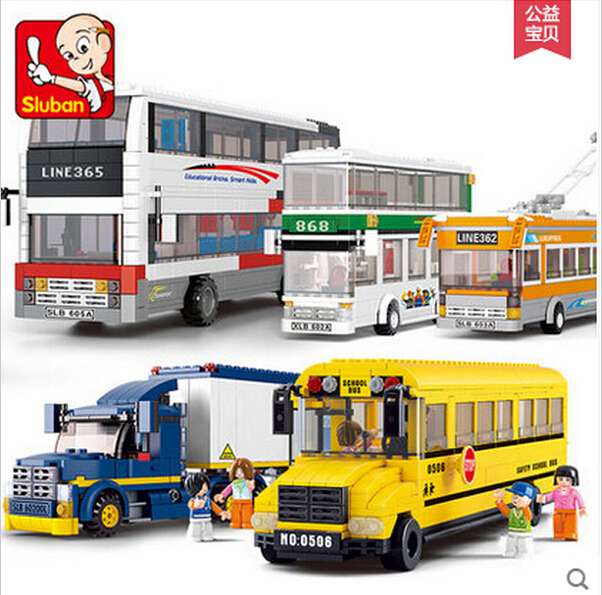 New Sluban School Bus City Series Double-decker bus Container truck kids toy set gift Building Block Compatible with Legoe(China (Mainland))