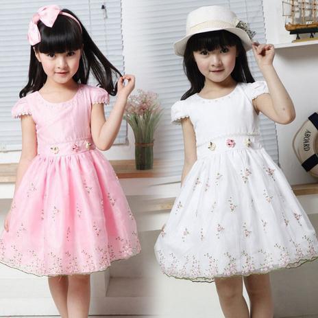 New Princess Children dress girls lady dress lovely floral veil,beautiful flower girls' dress,Baby Kids Children's Lovely Dress(China (Mainland))