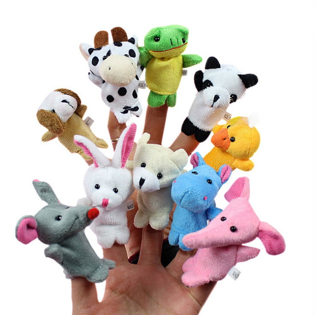 2016 new 10 pcs/lot, Baby Plush Toy/ Finger Puppets/Tell Story Props(10 animal group) Animal Doll /Kids Toys /Children Gift(China (Mainland))