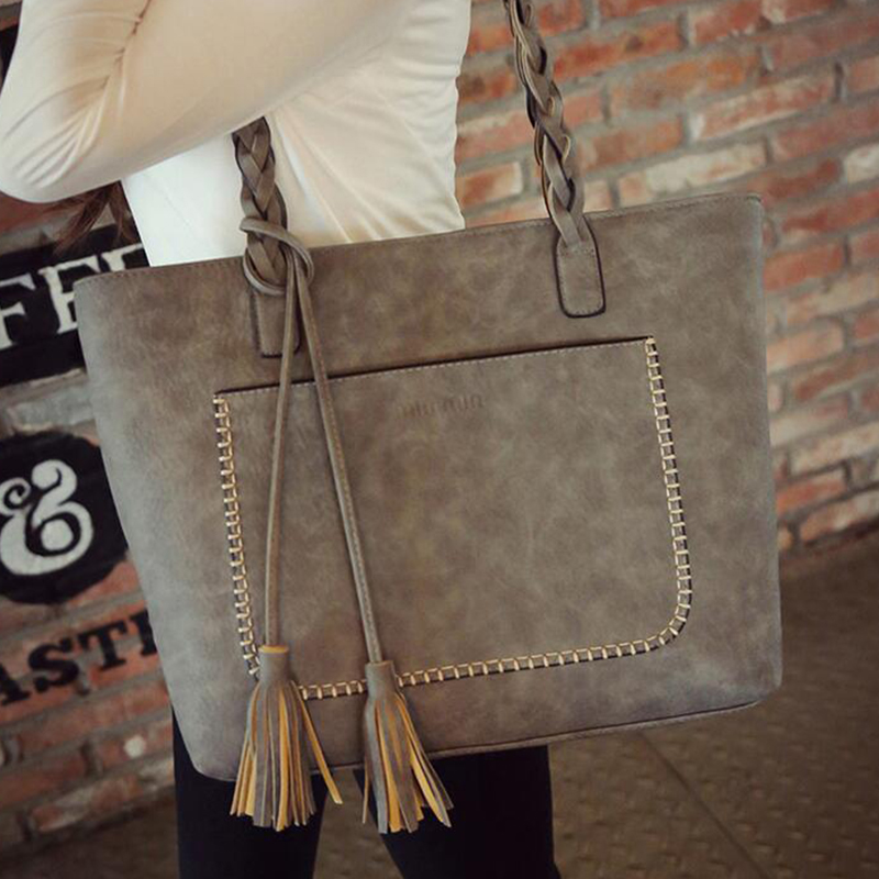 2016 New Famous Brand Women Handbag Luxury Matte leather Large Big Bag Tassel Original Shoulder Messenger Bags Tote bolsos FR058(China (Mainland))