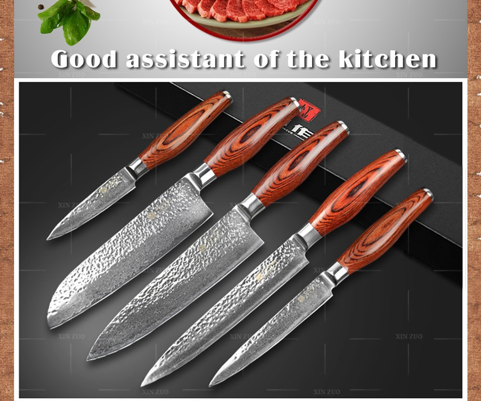 Buy 5 pcs kitchen knives set Japanese VG10 Damascus steel kitchen knife set cleaver chef utility hammer striae forging free shipping cheap