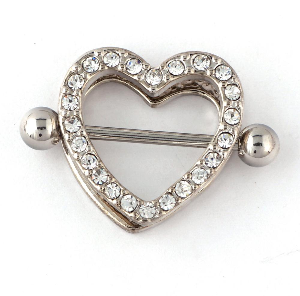 316L Surgical Steel Nipple Rings 14G Cute Gem Heart Shield Nipple Bar ...