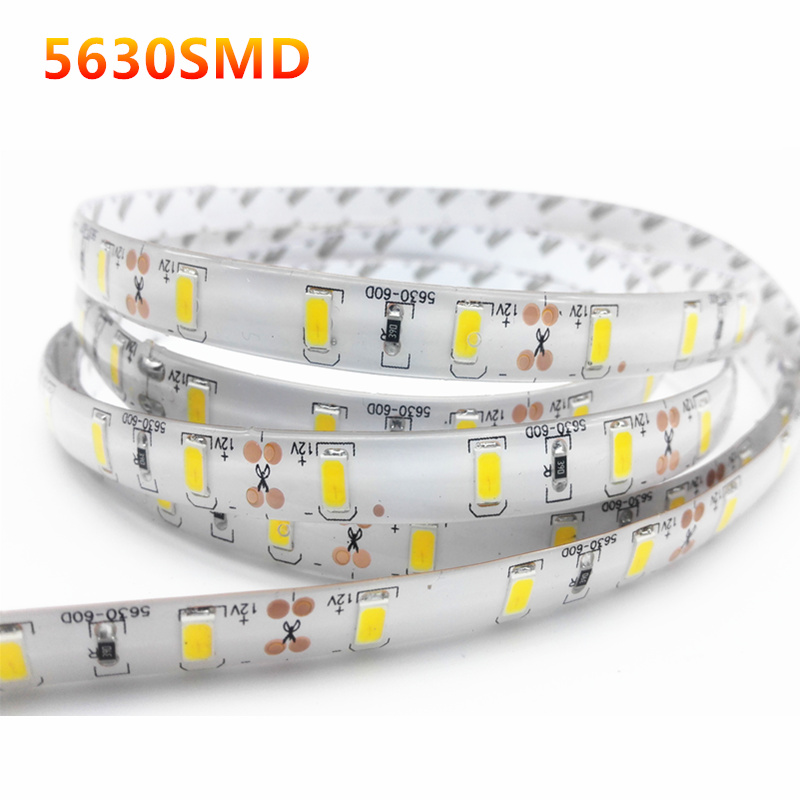 1/2/3/4/5M IP65 Waterproof LED Strip Light 5630 SMD DC12V 60Leds/M 5730 Bar Flexible Light Brighter Than 3528 5050 Led Tape(China (Mainland))