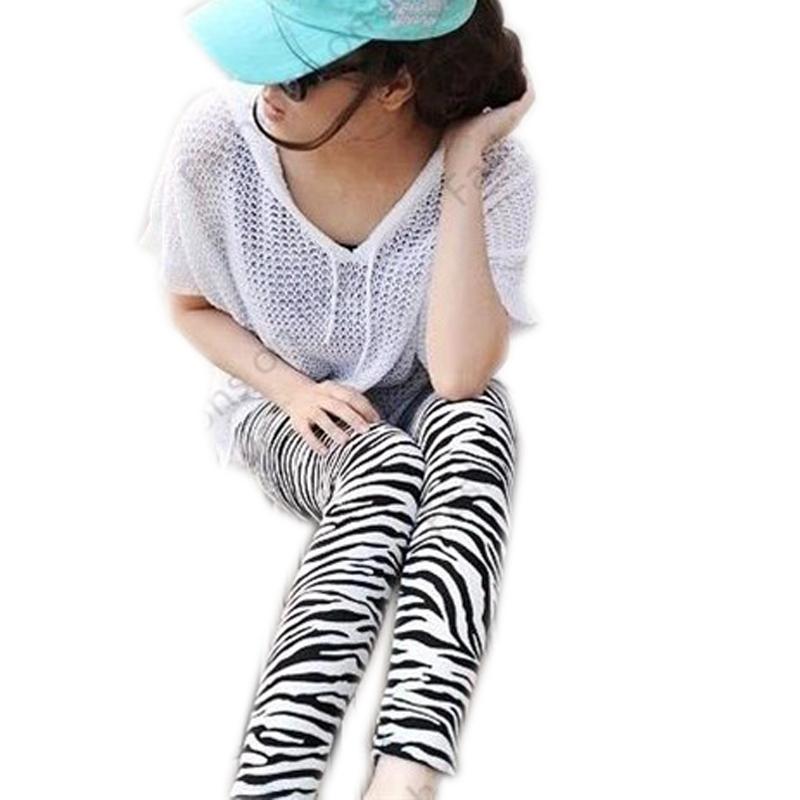 Fashion 2015 Women Leggings Black White Striped Slim ...