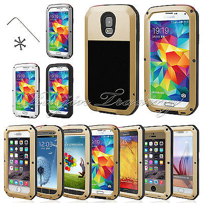 Cell Phone Case Shockproof Waterproof Aluminum Gorilla Glass Protector Metal Cover For Samsung Galaxy S3 S4 S5 S6 S7 edge Note 4(China (Mainland))