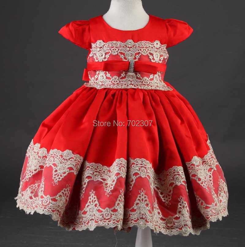 2015 delicate  floral embroidery 2015 girls summer fashion ball gown dress round neck bow belt 12pcs/lot free DHL 150377<br><br>Aliexpress