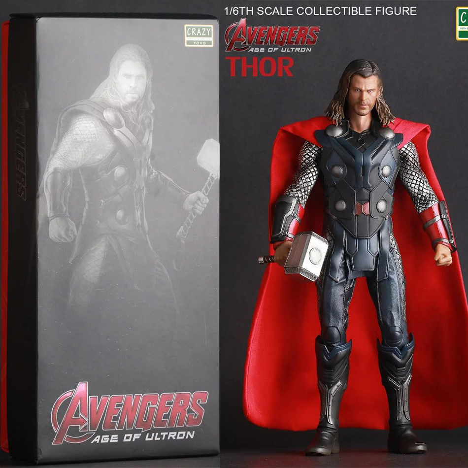 1pcs/set Avengers 2 Action Figures Hot Toys Super Hero Marvel Thor 30cm Model Gift Mjolnir Garage Brinquedos PVC 30CM Collection(China (Mainland))