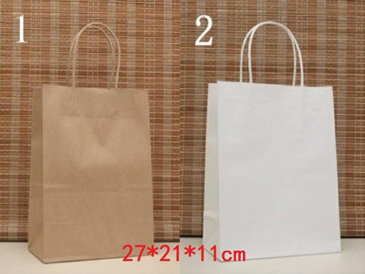 30PCS NEW kraft DIY Multifunction paper bag with handle/27x21x11cm/Shopping bag/Fashionable gift paper bag/Wholesale(China (Mainland))