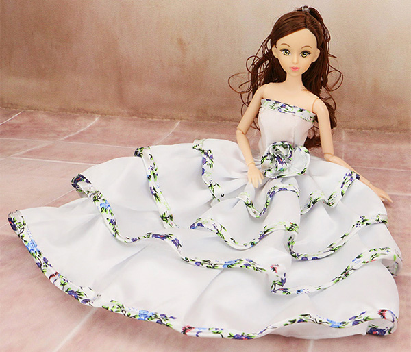 White Princess Wedding ceremony Gown For Barbie 1/6 Woman Doll's Gown Garments