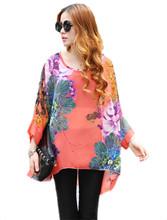 2015 Hot Sale Casual Women  Shirts Hainan Bohemian Style Plus Size Chiffon Shirt Fashion Printing Big Flower Blouses Tops #HR162