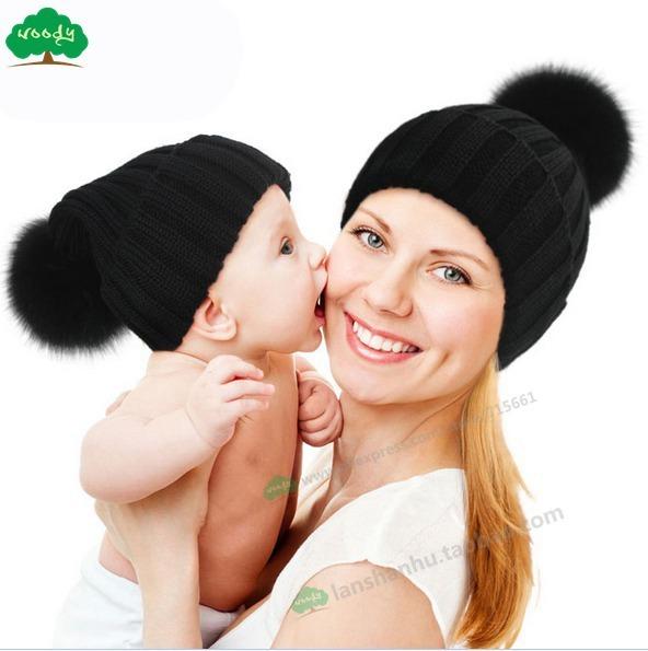 Ребенка зимой вязаная шапка с лисий мех англичане унисекс шапочки для детей гибкая ...