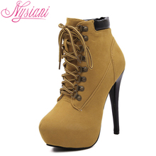 Winter Lady Platform Boots 2016 Stiletto Heels Lace Up Ankle Boots For Women Little Pointy Toe Fashion High Heels Martin Boots(China (Mainland))