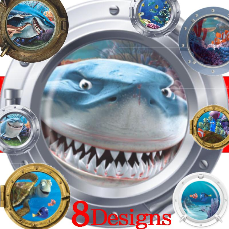 submarine porthole wall stickers fantastic sealife room decoration coral shark fish scuttle animal home decals kid mural art 4.5(China (Mainland))
