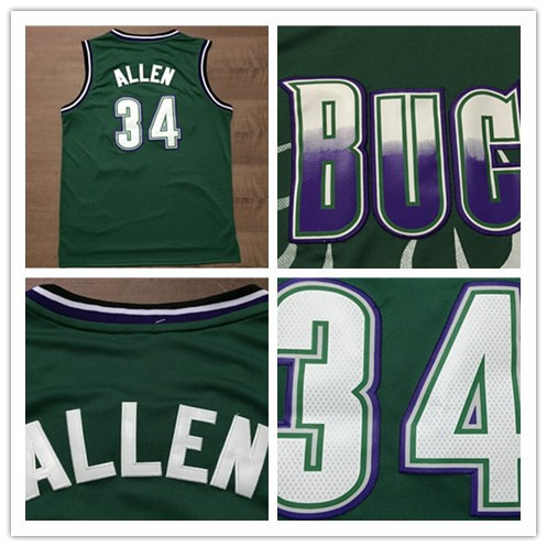 Hot Sale Cheap Milwaukee #34 Ray Allen Throwback Basketball Jerseys In Green High Quality Embroidery Logos Free Shipping!(China (Mainland))