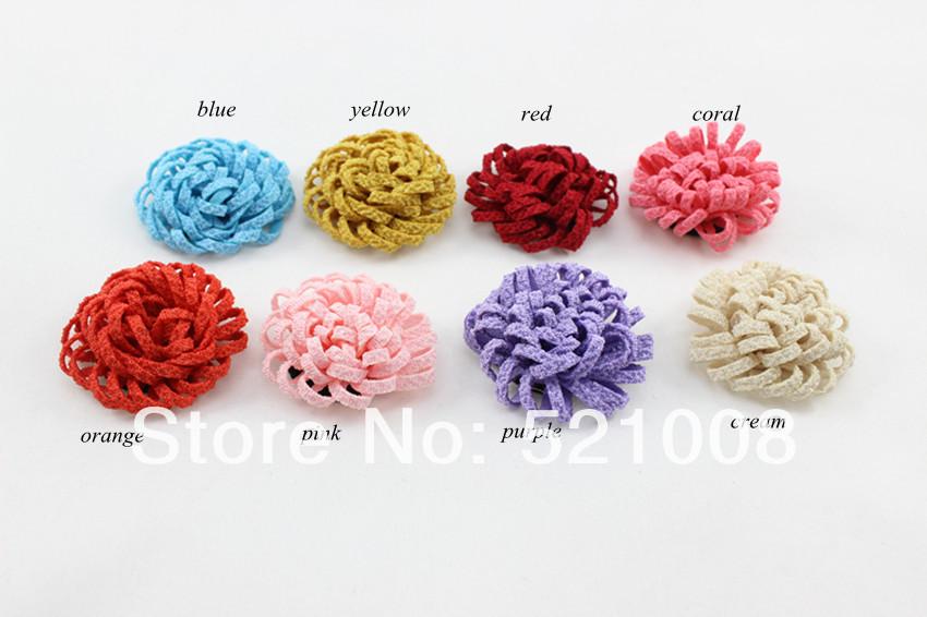 Ruffle Flower Chiffon Girls Handmade Rose Fabric Flower for Headband Hair clips Children Hair Accessories 48pcs/lot(China (Mainland))