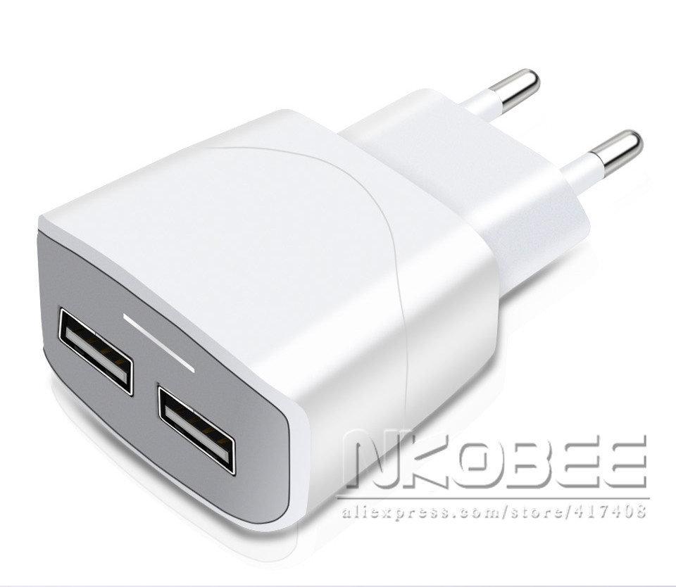 NKOBEE 5V2.4A LED 2 Port USB Charger Universal Travel Adapter Portable EU Plug Phone Smart Charger for iPhone iPad for samsung
