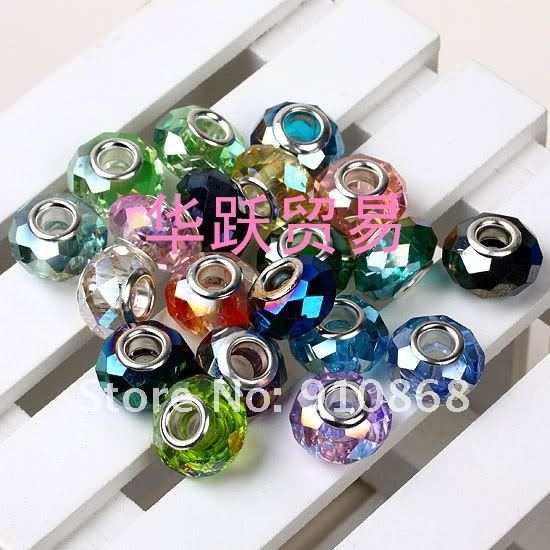 fashion Faceted Crystal Beads mixed color fit Europe DIYbracelet and necklace