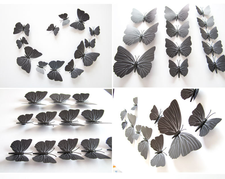 12 pcs black color 3D simulation butterfly stickers home accessories tv wall background decoration stickers DIY decorative(China (Mainland))