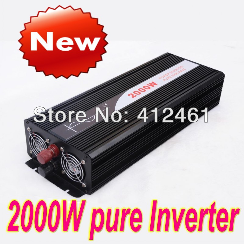 High efficiency Home inverter , DC12V to AC110V/220V 2000W Pure Sine Wave Inverter off grid tie, portable solar power inverter(China (Mainland))