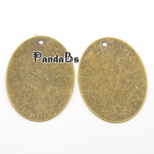 Metal Tags, Brass Blank Stamping Tag Pendants, Oval, Antique Bronze, 40x30x0.3mm, Hole: 1.5mm(China (Mainland))