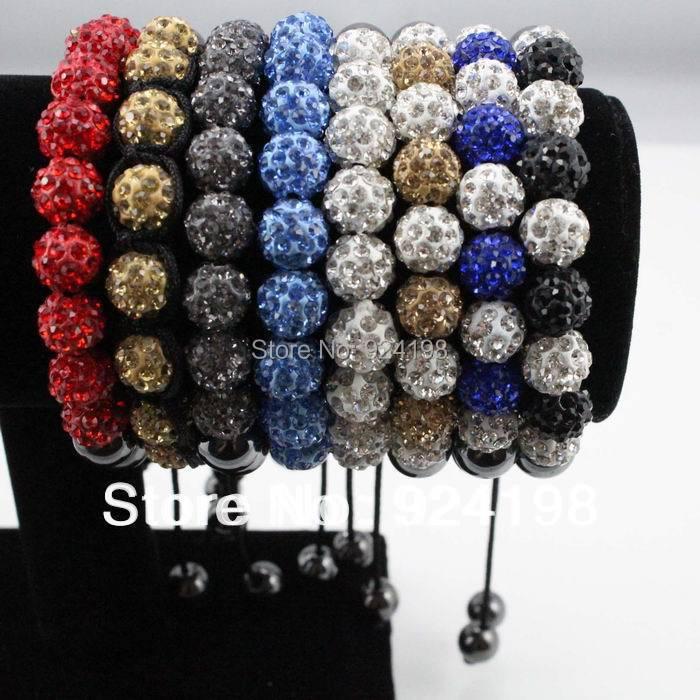 Minimum order $10 9*10 MM disco crystal ball shamballa bracelet with 8 Hematite beads jewelry for girls(China (Mainland))
