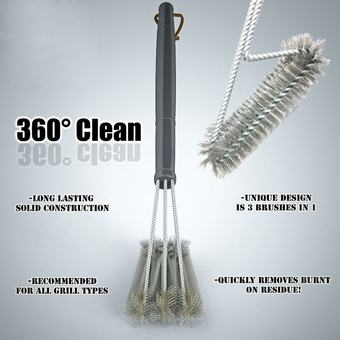 """18"""" Extra Long Handle 3 Super Stainless Steel Brushes Grill Cleaning Brush BBQ tool Grill Brush(China (Mainland))"""