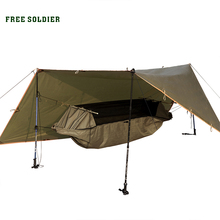FREE SOLDIER outdoor portable hammock wear-resisting large tent and awning Multi-function mat folding PU instant waterproof(China (Mainland))