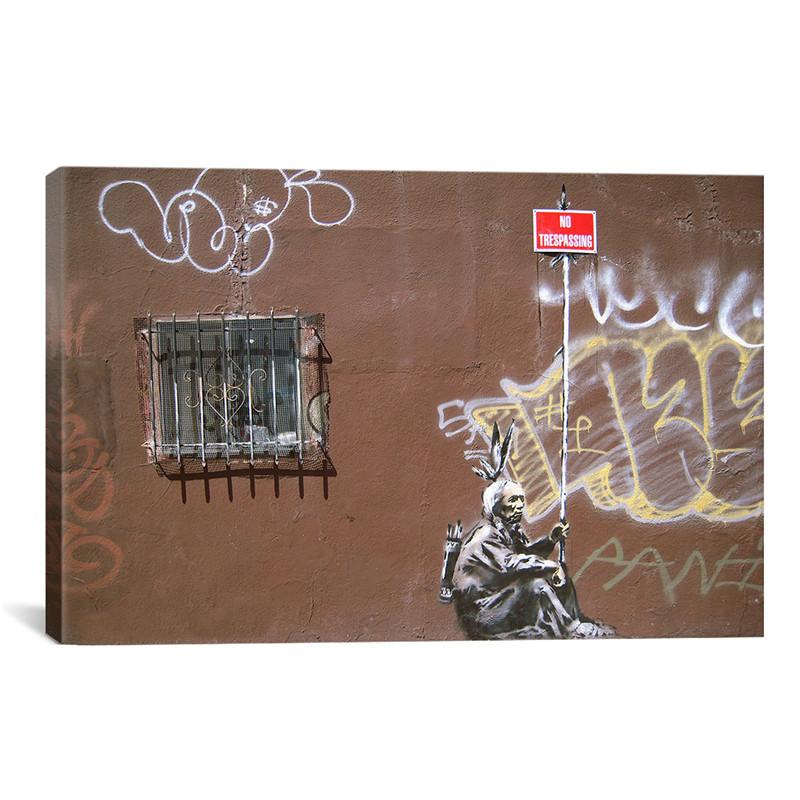 Prohibido el paso indian banksy enorme lienzo pintura for Decoracion del hogar paso a paso