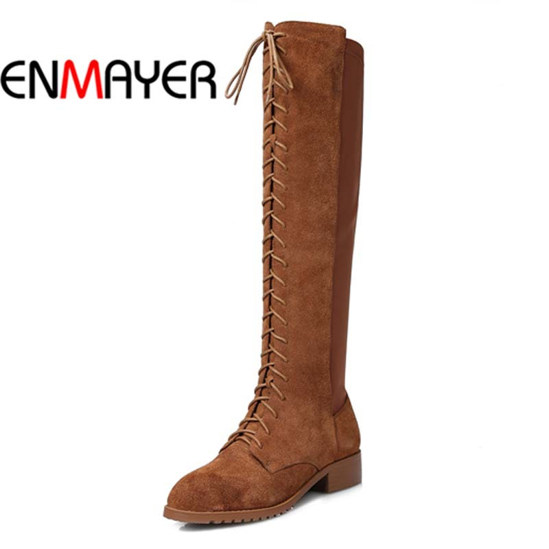 ENMAYER Round Toe Low Women motorcycle boots Full Grain Leather Round Toe Low Rider boots Big Size34-43 Winter Boots Hot Lace-Up<br><br>Aliexpress