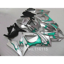 Free 7 gifts fairing kit SUZUKI GSXR 1000 K7 K8 2007 2008 fairings 07 08 GSXR1000 green flames silver ABS bodykits JS73 - Welcome Shopping's store
