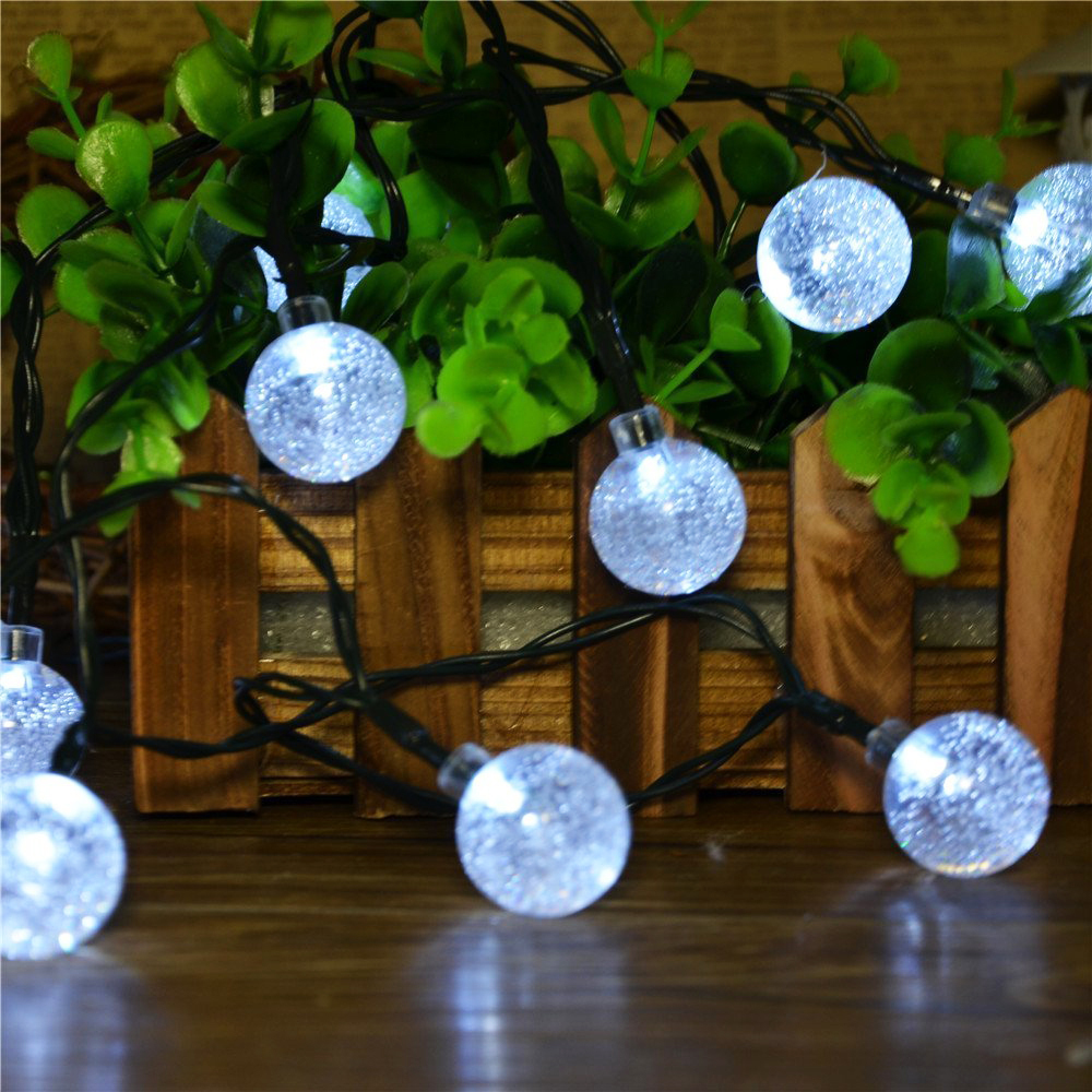 Crystal ball globe fairy strip lights 6m 30 led solar - Led solar jardin ...