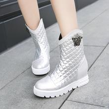 2015 новые зимние ботинки женщин большой размер 34 — 44 круглый носок увеличение высоты платформы высокие каблуки теплые дамы снегоступы AYY-906-1