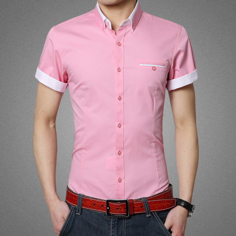 Mens pink short sleeve dress shirt artee shirt for Short sleeved shirts for men