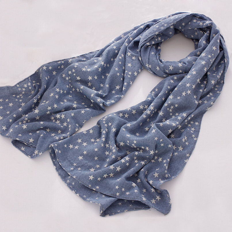 2016 New Autumn Winter Soft Long Cotton Linen Scarf Wrap Fashion Women Tiny Stars Print Scarf Shawl 6 Colors 180 X 65 cm(China (Mainland))