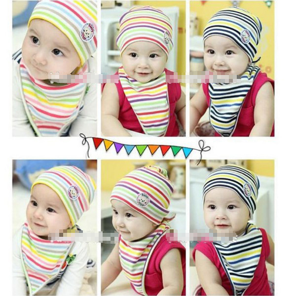 Baby Todders 2Pcs Clothes Set Stripe Soft Knit Hat Cap+Triangle Bib Saliva Towel Wholesale Free Shipping <br><br>Aliexpress