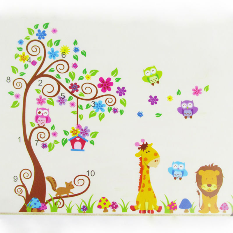 Wall Sticker Owl Tree Vinyl Wall Stickers For Kids Room DIY Cartoon Animal Giraffe Owls Tree Wall Decals Wallpaper Home Decor(China (Mainland))