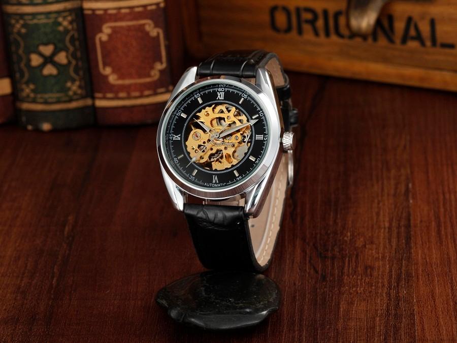 ПОСЕТИТЕЛЬ модного бренда мужские механические часы Спорта водонепроницаемый Световой Досуг Кожа Скелет Автоматические Наручные часы Мужской часы