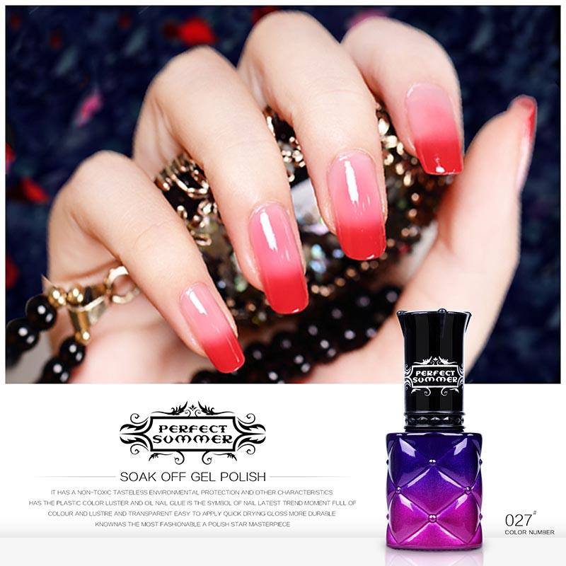 Perfect Summer 8ml Gel Nail Polish Color UV Gel Lacquer Temperature Color Changing Gel UV LED Soak off Long Lasting Gel Polish(China (Mainland))