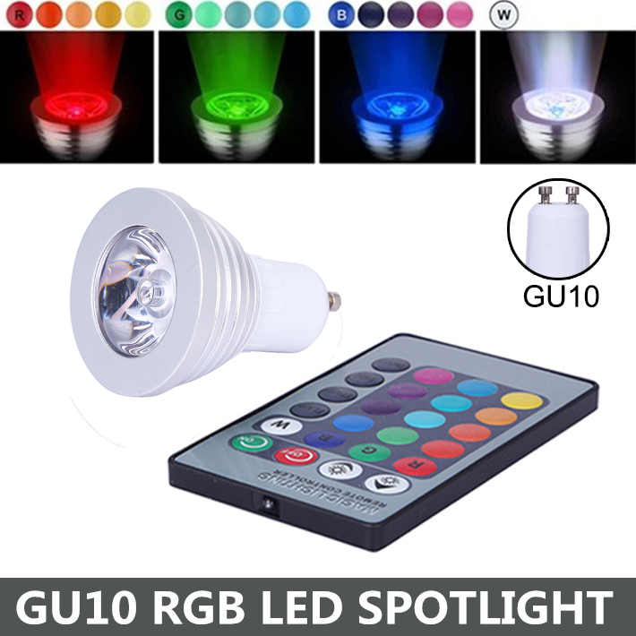 3W 4W GU10 RGB LED Bulb 16 Color Change Lamp Spotlight 110-245v for Home Party Decoration with IR Remote FREE SHIPPING<br><br>Aliexpress