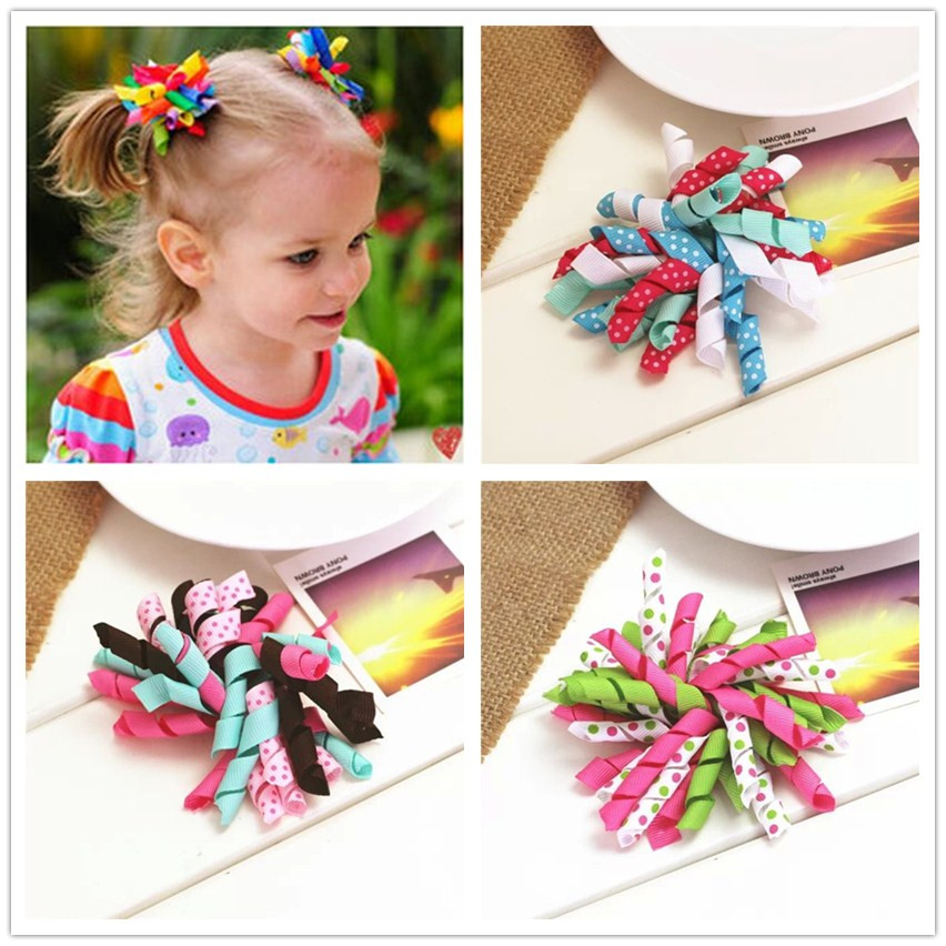 handmade ribbon flowers bow baby girls children hair clip pin rolls bow headwear hairpin accessories for hair ornaments hairclip(China (Mainland))