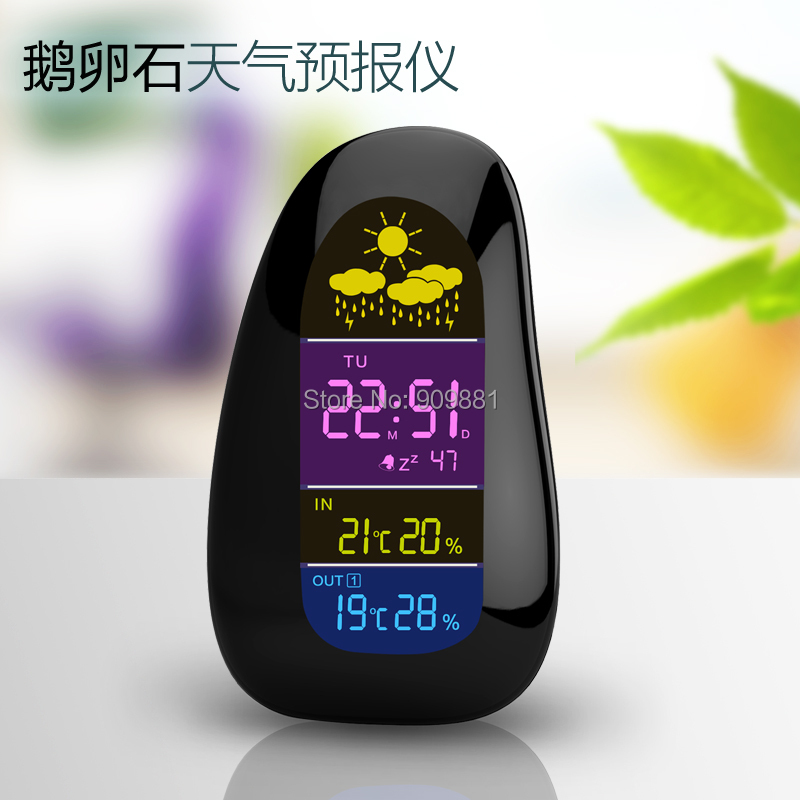 Digital Cobblestone Shaped LED Indoor Outdoor Wireless Weather Station Temperature Humidity Alarm Clock with RF Remote Sensor(China (Mainland))
